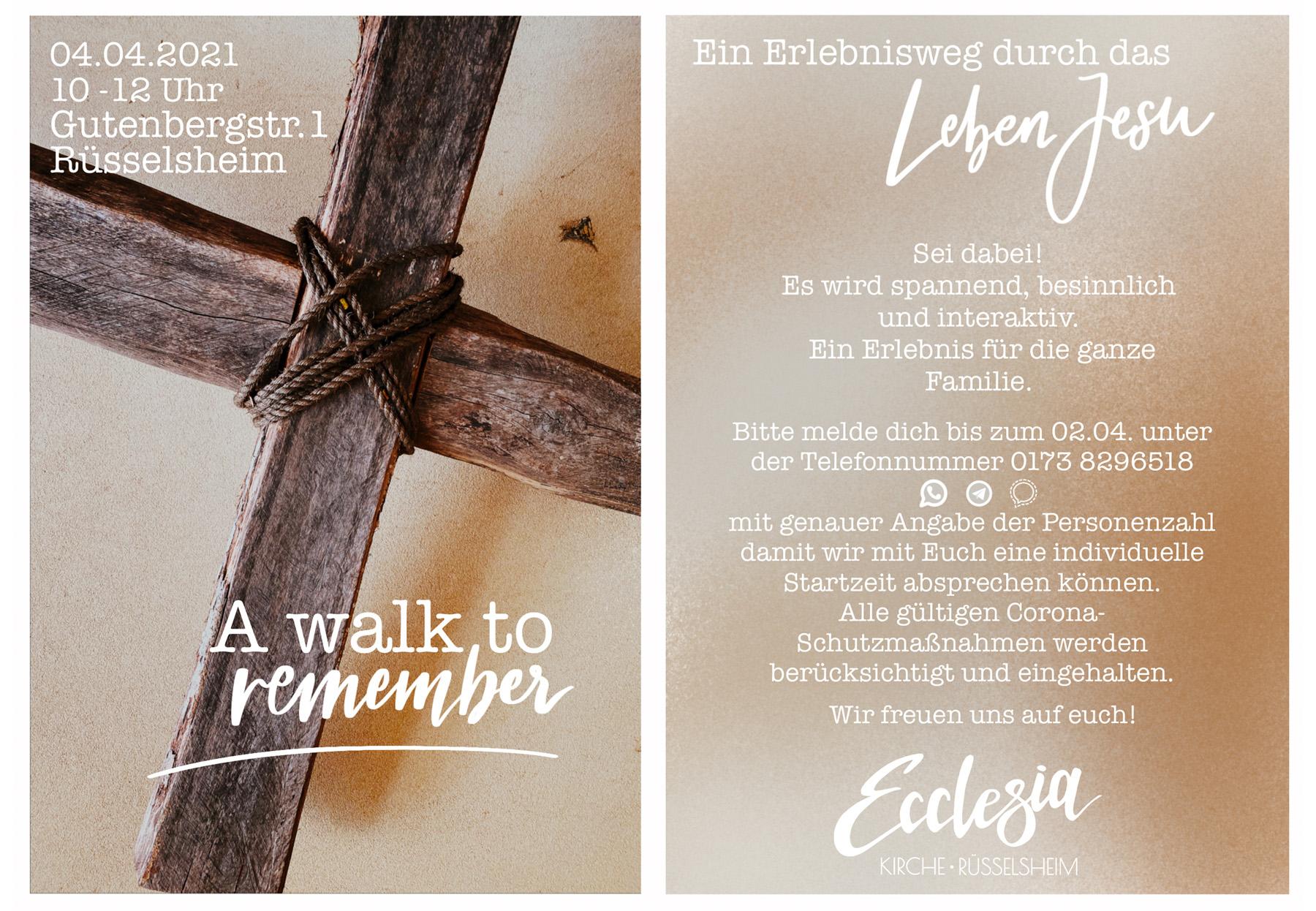A walk to remember - Ein Erlebnisweg durch das Leben Jesu